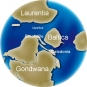 Colour image of globe showing changing position of continents Gondwana, Baltica, Laurentia
