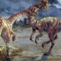 Watercolour painting of a two dinosaurs with the moon in the background