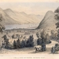 Colour print of horse and carriage, farmhouse, river and large mountains in background