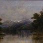 Oil painting of lake, trees, animal drinking water and mountains in background