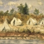 Watercolour painting of five tents along a shoreline, forest in background