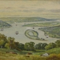 Painting of river valley with islands, wharves and boats
