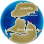 Colour image of globe showing changing position of continents Gondwana, Laurentia, Brookville, Caledonia