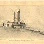 Black and white print of bulding with smoke stack and pole with horn on roof