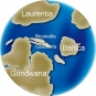 Colour image of globe showing changing position of continents Gondwana, Baltica, Laurentia, Brookville, Caledonia
