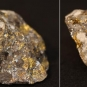 Double colour image of brown rock mottled with white and yellow