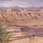 Watercolour painting of a red rock valley with a dinosaur head and green trees