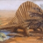 Watercolour painting of a large reptile with walking on the red mud