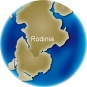 Colour image of globe showing position of large land mass Rodinia