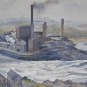 Colour painting of a factory with river in front and green hills behind