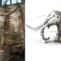Double colour image of a brown skeleton standing in front of trees with a sketch of a mastodon