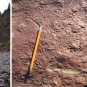 Triple colour image of red rock face, red rock with pencil for scale and fossilized prints in red rock
