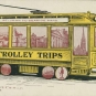 Colour drawing of an old yellow trolley car with a sign, St. John to Seaside Park